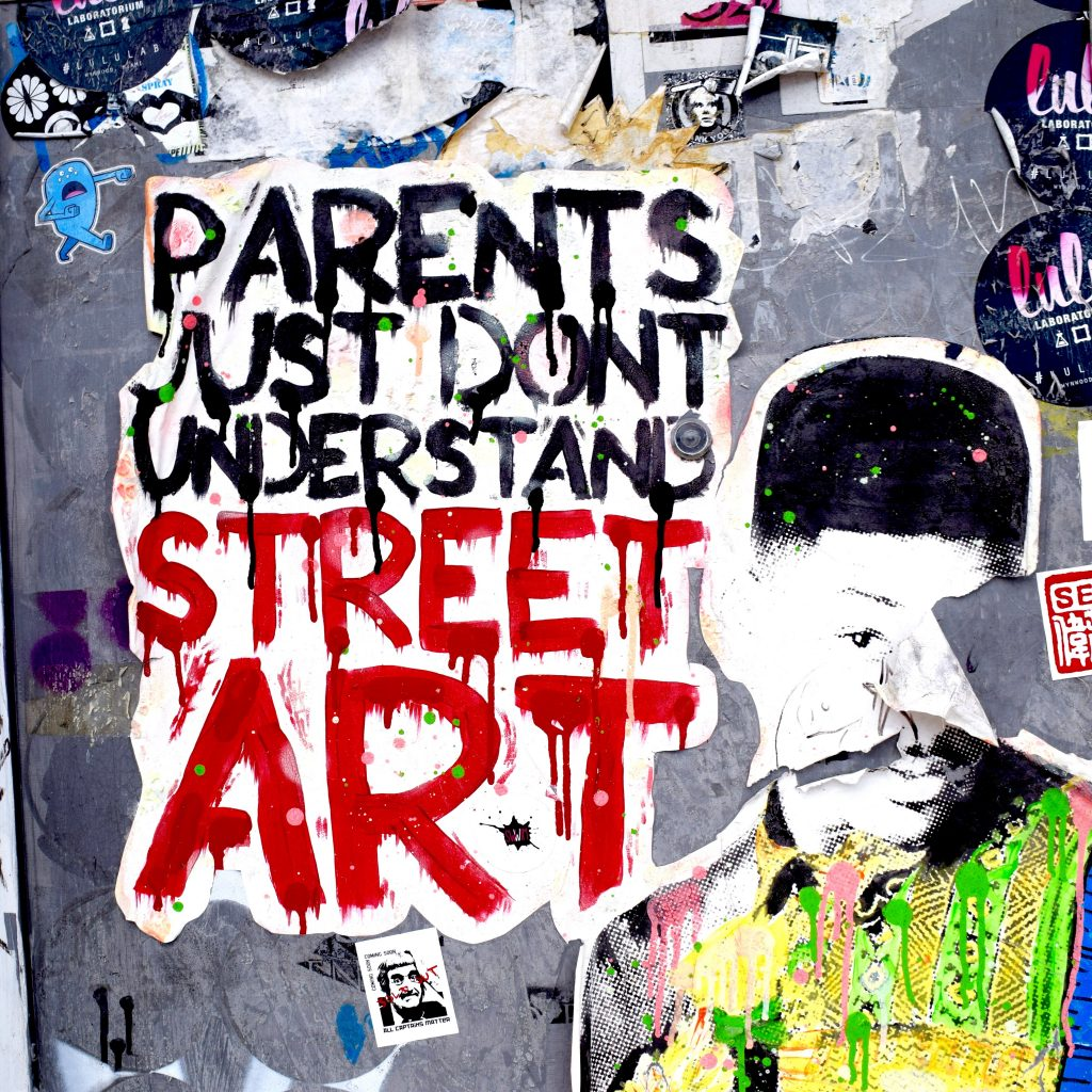 """""""Parents Just Don't Understand Street Art"""" wheat paste by street artist Sacsix in Wynwood, Miami. Photo by The Graffiti Dog."""